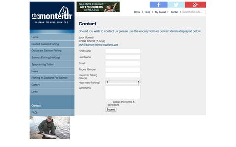 Screenshot of Contact Page salmon-fishing-scotland.com - Contact - The Monteith - captured Oct. 4, 2014