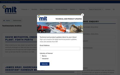 Screenshot of Testimonials Page mitgroup.co.uk - Testimonials Archive - Marine & Industrial Transmissions - captured Nov. 11, 2018