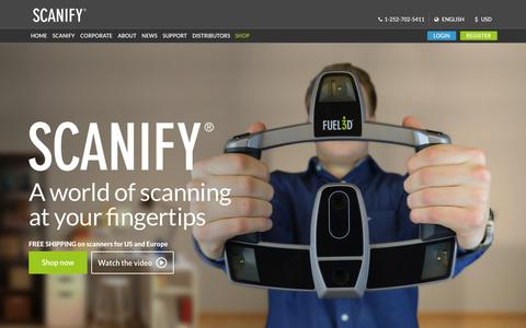 Screenshot of Home Page fuel-3d.com - SCANIFY: The low-cost, high-quality handheld 3D Scanner from Fuel3D - captured Dec. 4, 2015