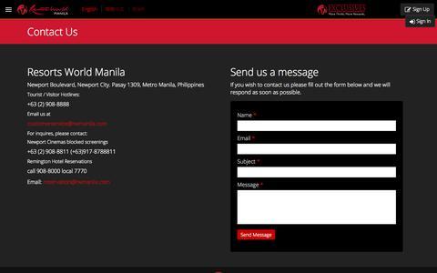 Screenshot of Contact Page rwmanila.com - Contact Us  | Resorts World Manila - captured Sept. 19, 2014
