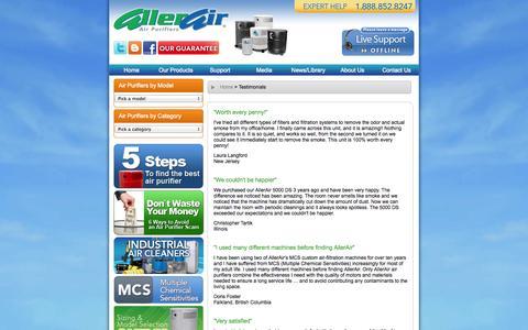 Screenshot of Testimonials Page allerair.com - Air Purifiers - Testimonials and Air Purifier Reviews, AllerAir - captured Oct. 4, 2014