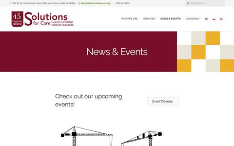 Screenshot of Press Page solutionsforcare.org - News & Events - captured June 15, 2017