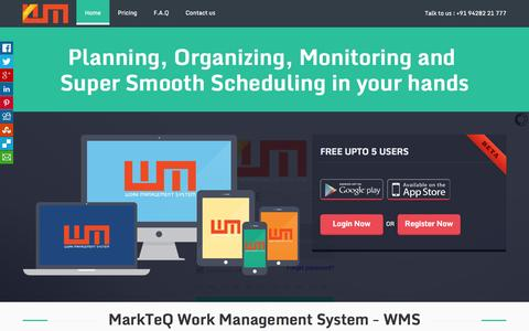 Screenshot of Home Page markteqwms.com - MarkTeQ WMS - A unique collaboration tool for work | Project Management Software | Work Allocation & Monitoring | Handy Work Management Software - captured Oct. 6, 2014