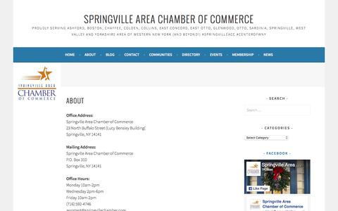 Screenshot of About Page wordpress.com - About – springville area chamber of commerce - captured Dec. 3, 2016