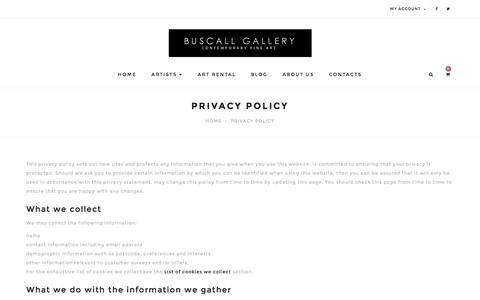 Screenshot of Privacy Page buscallgallery.co.uk - Privacy Policy - captured Jan. 7, 2016
