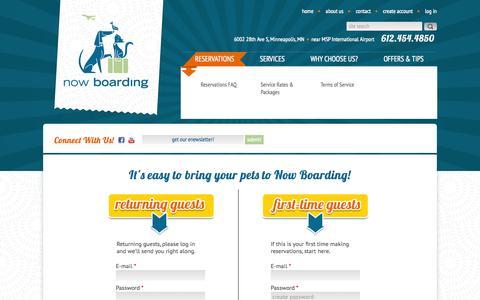 Screenshot of Login Page nowboardingpets.com - Now Boarding Pets - captured Oct. 1, 2014