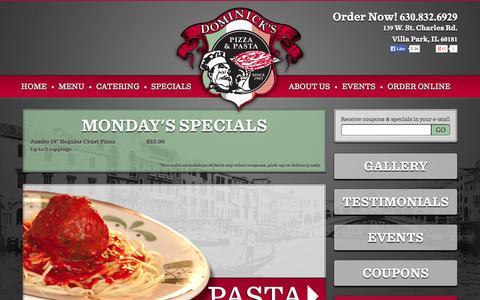 Screenshot of Home Page dominickspizza.net - Pizza & Pasta - Elmhurst, Lombard and Villa Park. | Dominick's Pizza - captured Sept. 30, 2014
