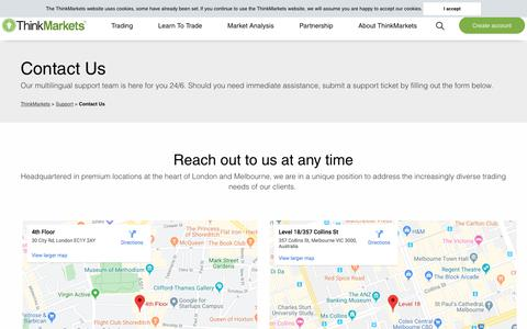 Screenshot of Contact Page thinkmarkets.com - Contacto | ThinkMarkets - captured Nov. 27, 2019