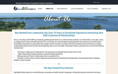 Screenshot of About Page baymarketforce.com - Bay MarketForce - About Us - captured Nov. 22, 2016