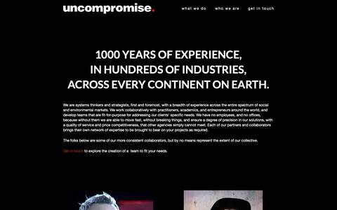 Screenshot of Team Page uncompromise.com - Who we are | Uncompromise | strategy systems design & scale for world positive ventures - captured Nov. 18, 2018