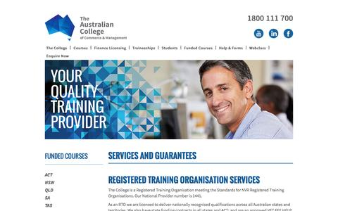 Screenshot of Services Page austcollege.edu.au - Services and Guarantees | The Australian College - captured Feb. 6, 2016