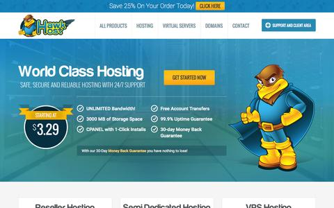Screenshot of Home Page hawkhost.com - Website Hosting, VPS Hosting, Reseller Hosting - Hawk Host - captured June 17, 2015