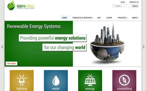 Screenshot of Home Page genproenergy.com - Renewable Energy Solutions - GenPro Energy Solutions - captured Oct. 2, 2014