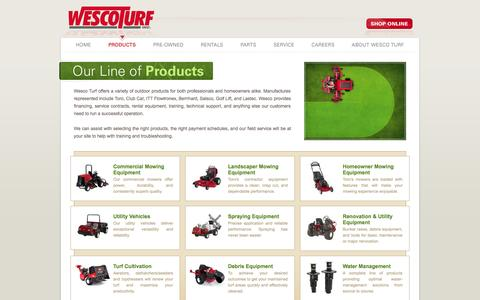 Screenshot of Products Page wescoturf.com - Wesco Turf, Inc. - New and Used Golf, Turf, and Grounds Equipment.  Toro Irrigation and water management systems. - captured Oct. 7, 2014