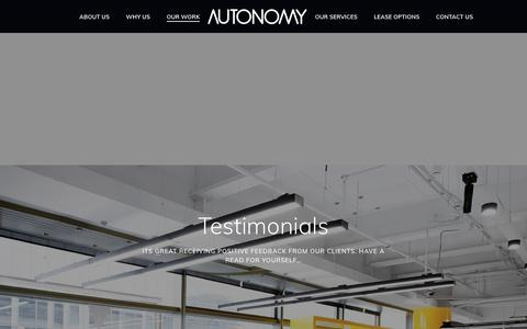 Screenshot of Testimonials Page autonomyworkspace.com - About Autonomy Workspace   Office Fit Out and Finance   - captured Nov. 13, 2018