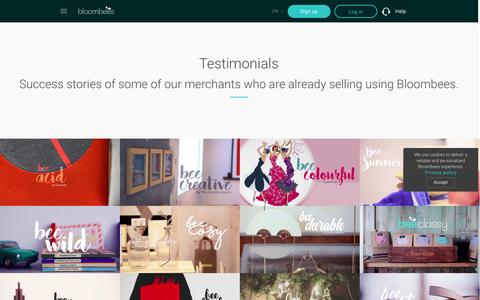 Screenshot of Testimonials Page bloombees.com - Bloombees | Instant Commerce | Post, sell & get paid worldwide - captured Nov. 22, 2016
