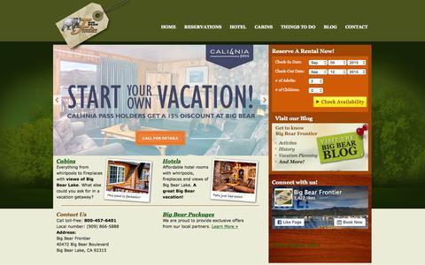 Screenshot of Home Page big-bear-cabins.com - Big Bear Cabins and Hotel on Big Bear Lake - captured Sept. 5, 2015