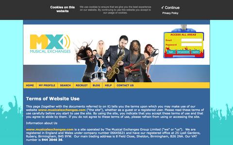 Screenshot of Terms Page musicalexchanges.com - Musical Exchanges - Musicians Wanted - captured Oct. 3, 2014