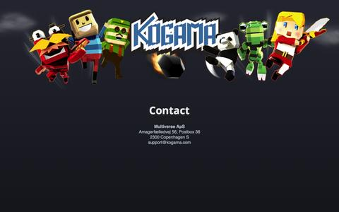 Screenshot of Contact Page kogama.com - KoGaMa - The Social Builder - captured Oct. 26, 2014