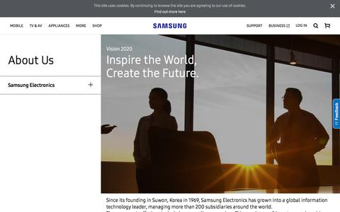 Screenshot of About Page samsung.com - Vision 2020   Samsung Electronics   About Us    Samsung CA - captured Nov. 1, 2017