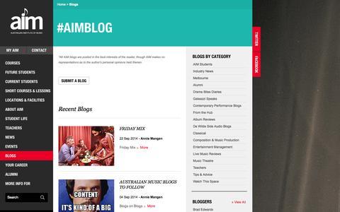 Screenshot of Blog aim.edu.au - Australian Music Blog - Creative Industry Blog | AIM Music School - captured Sept. 25, 2014