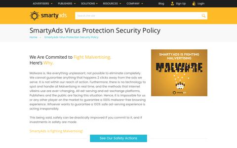 Screenshot of smartyads.com - SmartyAds Virus Protection Security Policy | Virus Removal Services - captured May 31, 2017