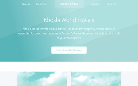 Screenshot of Home Page khoslaworld.com - Khosla World Travels | Travel Agency in Toronto, Ontario - captured Oct. 6, 2014