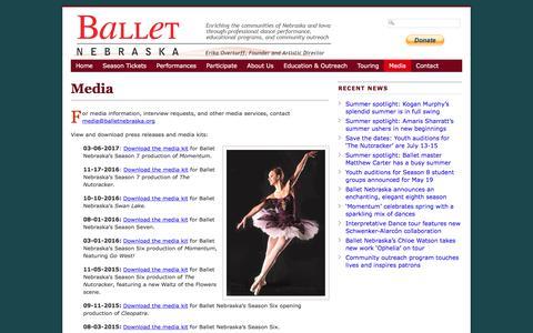 Screenshot of Press Page balletnebraska.org - Media - Ballet Nebraska - captured May 31, 2017