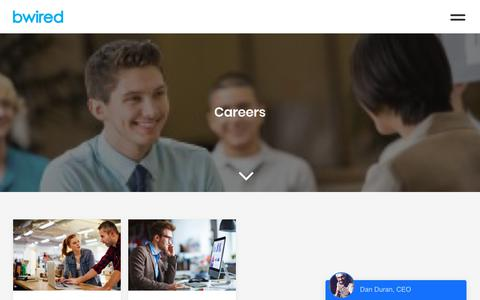 Screenshot of Jobs Page bwired.ca - Careers Archives - Bwired - captured Oct. 20, 2018