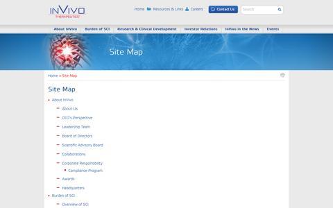 Screenshot of Site Map Page invivotherapeutics.com - Site Map | InVivo Therapeutics - captured Dec. 4, 2015