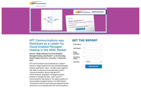 "Screenshot of Landing Page ntt.com - NTT Communications - Gartner 2015 Report: ""Magic Quadrant for Cloud-Enabled Managed Hosting, Asia/Pacific"" - captured March 1, 2017"