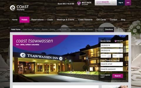 Screenshot of Maps & Directions Page coasthotels.com - Directions to Our Delta Hotel | Contact Coast Tsawwassen Inn - captured Sept. 28, 2018