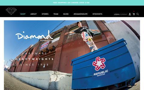 Screenshot of Home Page diamondsupplyco.com - Diamond Supply Co l Official Store - captured Jan. 6, 2016