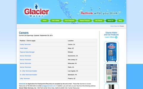 Screenshot of Jobs Page glacierwater.com - Careers | Glacier Water - captured Oct. 2, 2014