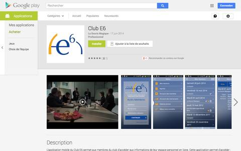 Screenshot of Android App Page google.com - Club E6 - Applications Android sur GooglePlay - captured Oct. 31, 2014
