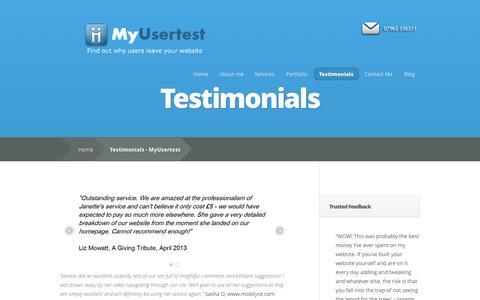 Screenshot of Testimonials Page myusertest.co.uk - Testimonials - MyUsertest | MyUsertest - captured Oct. 9, 2014