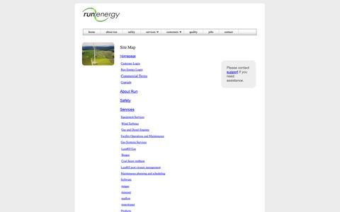 Screenshot of Site Map Page runenergy.com - Run Energy | Site Map. - captured Oct. 7, 2014