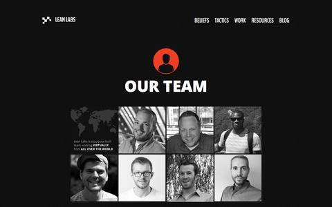 Screenshot of Team Page lean-labs.com - Team - captured July 6, 2016