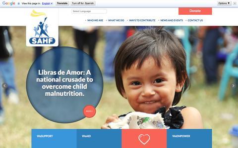 Screenshot of Home Page sahf.org - SAHF Salvadoran American Humanitarian Foundation - captured Feb. 4, 2016