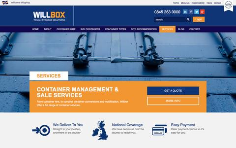 Screenshot of Services Page willbox.co.uk - Container Repair, Conversions & Sale Services   Willbox - captured Jan. 23, 2016
