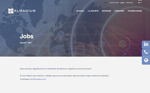 Screenshot of Jobs Page almadius.com - Jobs   Almadius - Bureau d'études - captured July 28, 2018