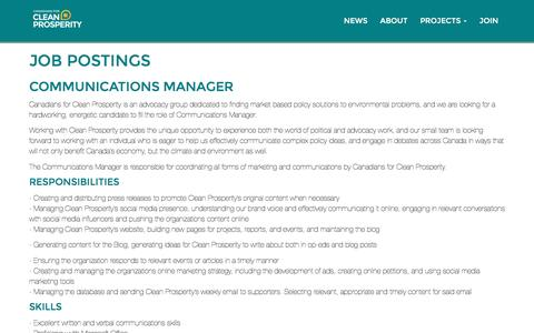 Screenshot of Jobs Page cleanprosperity.ca - Job postings - Canadians for Clean Prosperity - captured Oct. 21, 2016