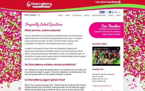 Screenshot of FAQ Page cherryberryyogurtbar.com - FAQ's - captured Sept. 24, 2014