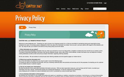 Screenshot of Privacy Page chatteryak.com - Privacy Policy   ChatterYak - captured Sept. 29, 2014