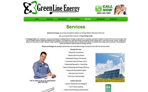 Screenshot of Services Page greenlineenergy.com - Services | GreenLine Energy - captured Sept. 30, 2014