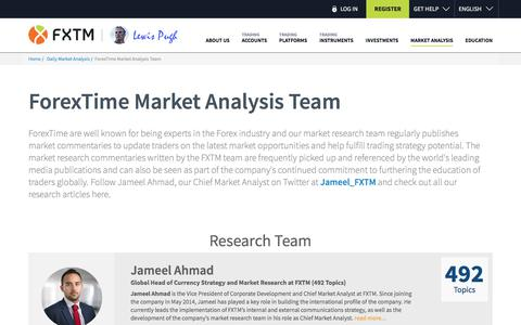 Screenshot of Team Page forextime.com - ForexTime Market Analysis Team | ForexTime (FXTM) - captured July 13, 2018
