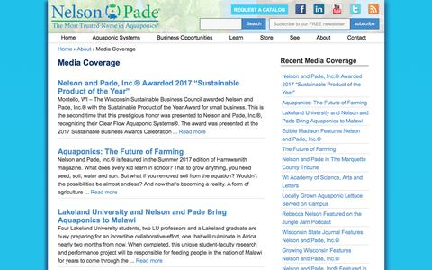 Screenshot of Press Page aquaponics.com - Media Coverage | Nelson & Pade, Inc. - captured Sept. 15, 2017