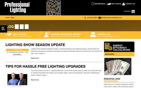 Screenshot of Blog professionallighting.com - Professional Lighting  | Blog - captured July 17, 2016