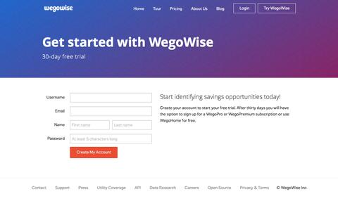 Screenshot of Signup Page wegowise.com - Free Trial - Best Utility Analytics Platform | WegoWise - captured Feb. 18, 2016
