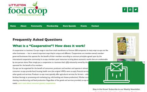 Screenshot of FAQ Page littletoncoop.com - Frequently Asked Questions | Littleton Food Co-op - captured Sept. 29, 2018